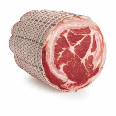 Vītināta cūkas gaļas pavēdere Pancetta Coppata rullēta